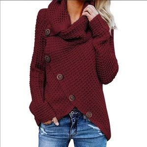 NWT WINE RED BUTTON EMBELLISHED SWEATER
